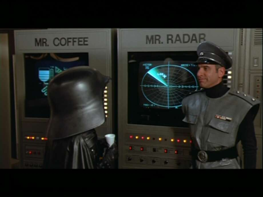"'Spaceballs' - Rick Moranis plays Dark Helmet in Mel Brooks' ""Star Wars"" spoof ""Spaceballs."""