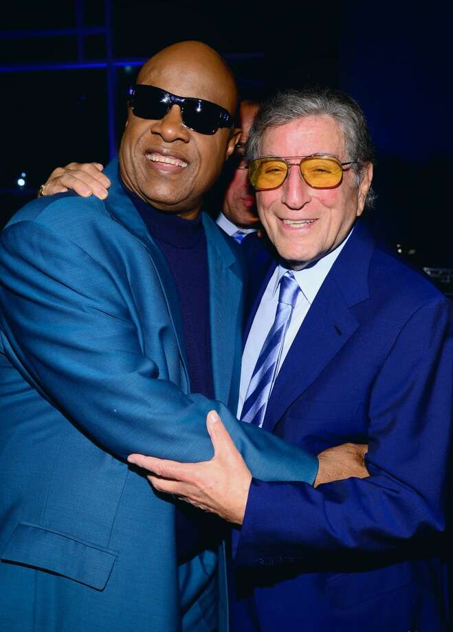 Stevie Wonder and Tony Bennett attend SeriousFun Children's Network event honoring Liz Robbins with celebrity guests at Pier Sixty at Chelsea Piers in New York Ciyt on April 4, 2013. Bennett performs at Ives Concert Park in Danbury on Saturday, July 13.