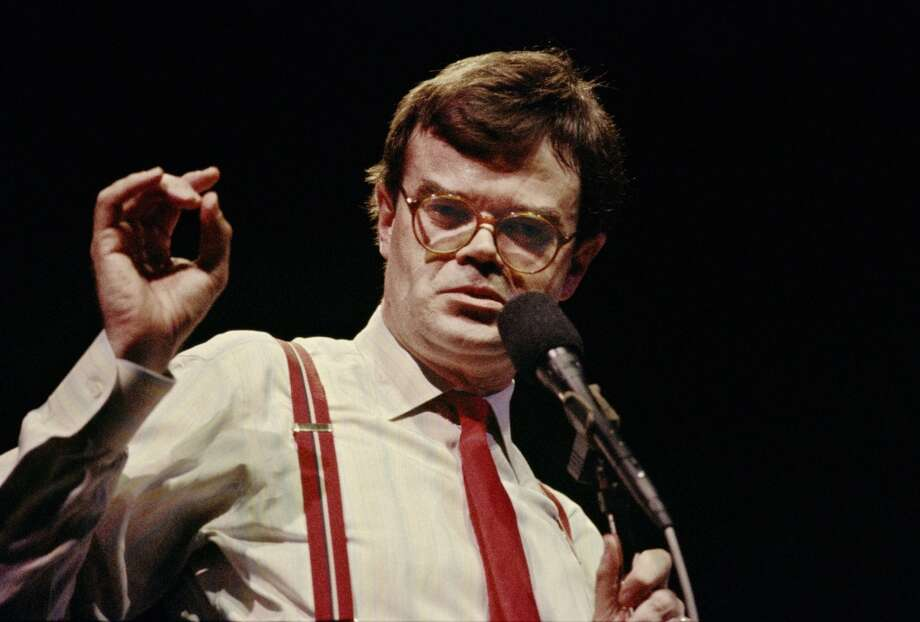 "Garrison Keillor delivers his ""News from Lake Wobegon"" monologue during his PRAIRIE HOME COMPANION live radio show at the Fitzgerald Theater in St. Paul, Minn. on March 8, 1986. Keillor stops at Ives Concert Park in Danbury on Thursday, Aug. 22."