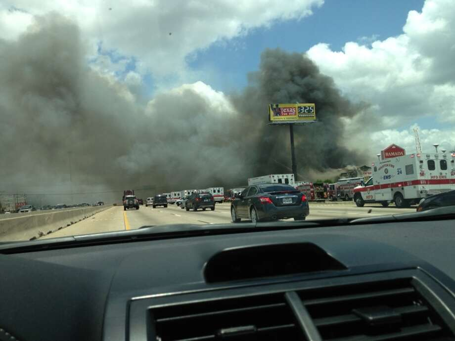 Fire causes traffic. Photo: Houston Chronicle