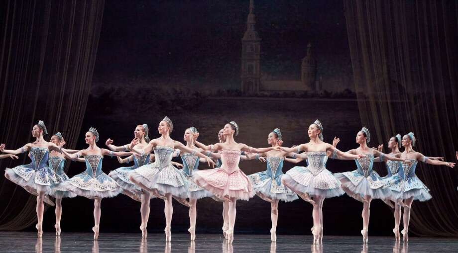 """Karina Gonzalez, center, and artists of Houston Ballet perform in George Balanchine's """"Ballet Imperial,"""" which is part of the """"Journey With the Masters"""" mixed rep program. Photo: Amitava Sarkar"""