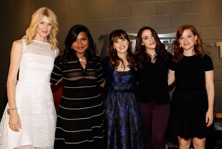 Actresses Laura Dern, Mindy Kaling, Zooey Deschanel, Kat Dennings, and Jane Levy.