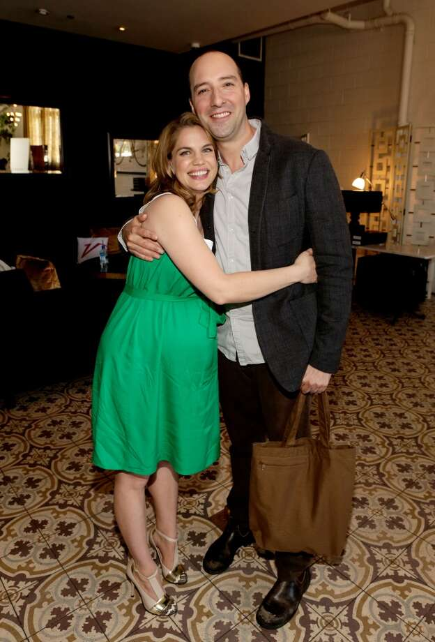 Anna Chlumsky and actor Tony Hale ('Arrested Development') hugging.
