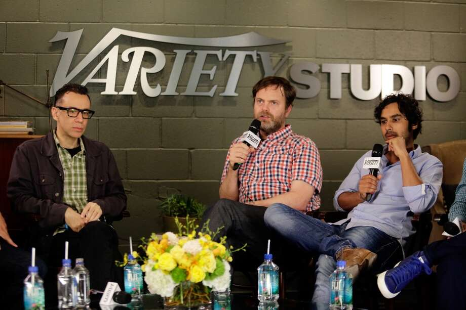 (L-R) Actors Fred Armisen, Rainn Wilson, and Kunal Nayyar attend the Variety Emmy Studio at Palihouse on May 29, 2013 in West Hollywood, California.