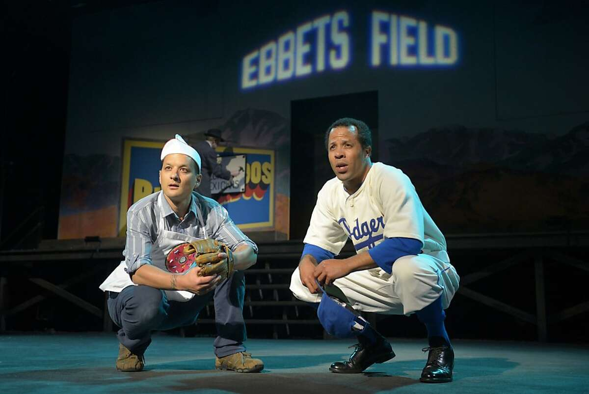 "Juan Jose (Sean Jose, left) encounters Jackie Robinson (Tyee Tilghman) in a dream in Richard Montoya's ""American Night: The Ballad of Juan Jose"" at California Shakespeare Theater. NOTE: Jose takes accent / over the e"