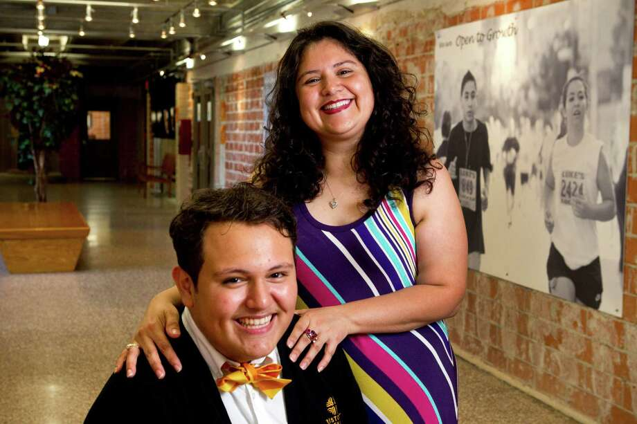 Christian Anté poses for a portrait with his mother, Brenda Juarez-Anté, at Cristo Rey Jesuit College Preparatory School. Anté has a full scholarship to Georgetown. Photo: Brett Coomer, Staff / © 2013 Houston Chronicle