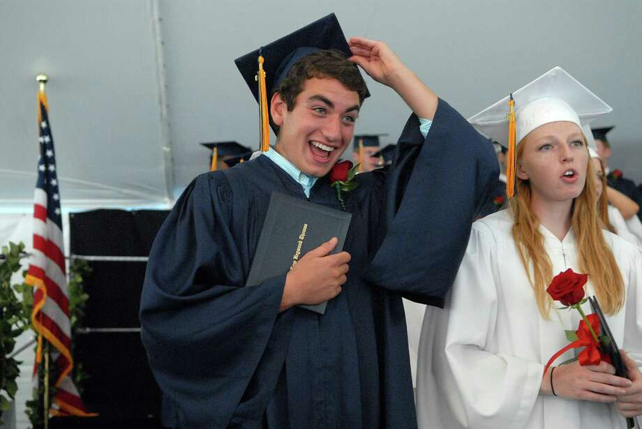 Thomas Rosenfeld and Katie Tryhane at the KIng Low Heywood Thomas high school graduation commencement in Stamford, Conn. on Friday May 31, 2013. Photo: Dru Nadler / Stamford Advocate Freelance