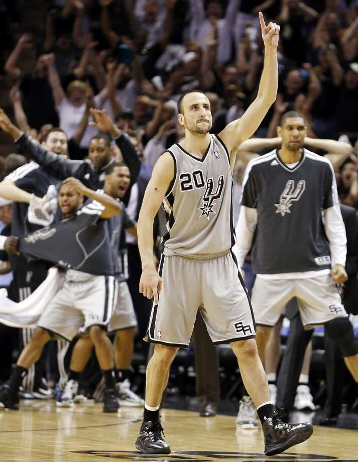 San Antonio Spurs' Manu Ginobili reacts after making a 3-pointer late in double overtime of Game 1 in the NBA Western Conference semifinals against the Golden State Warriors Monday May 6, 2013 at the AT&T Center. The Spurs won 129-127 in double overtime.