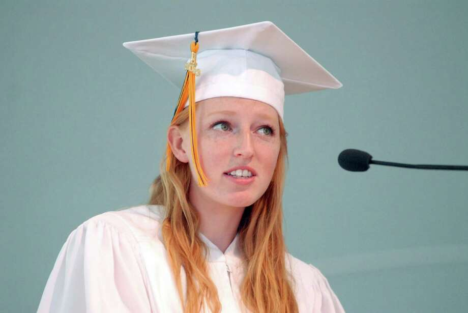 Valedictiorian Katie Blair speaks at the KIng Low Heywood Thomas high school graduation commencement in Stamford, Conn. on Friday May 31, 2013. Photo: Dru Nadler / Stamford Advocate Freelance