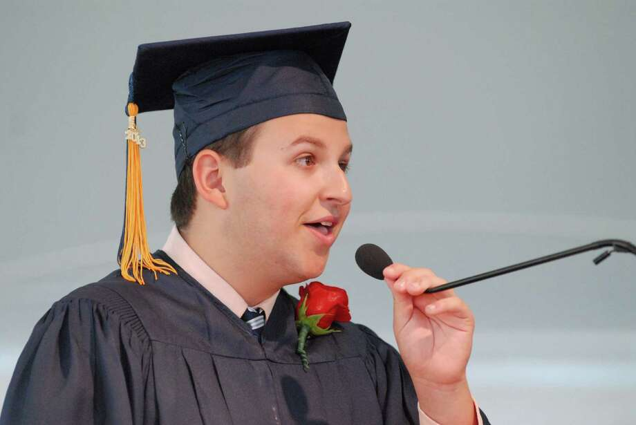 Valedictorian Spencer Blair speaks at KIng Low Heywood Thomas high school graduation commencement in Stamford, Conn. on Friday May 31, 2013. Photo: Dru Nadler / Stamford Advocate Freelance