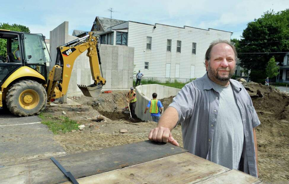 Executive director of Independent Media, Steve Pierce, at the Freedom Square construction site in Troy, NY, Tuesday May 28, 2013. (John Carl D'Annibale / Times Union)