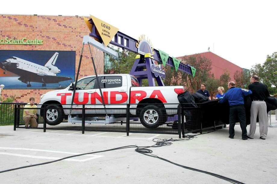 The San Antonio-made Toyota Tundra that was used last fall to tow the shuttle Endeavour part of the way to its new home has become part of the California Science Center's Giant Lever Exhibit. In the display, people can easily lift the pickup using leverage.