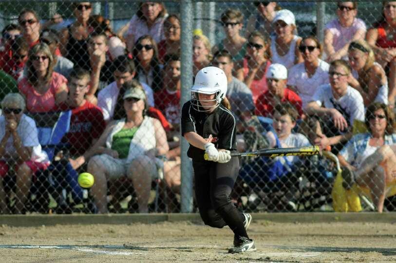 Bethlehem's Jessie Fleck bats during their Class AA softball final against Guilderland on Friday, Ma