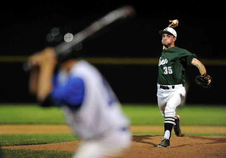 Shenendehowa's closer Taylor Vavrick winds up a pitch during their Class AA baseball final against S
