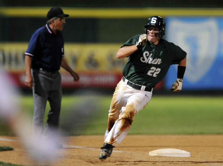 Shenendehowa's Nick Guinta rounds third on his way home during their Class AA baseball final against