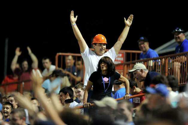 "Shaker fans dance to the song ""YMCA"" between innings of the Class AA baseball final against Shenedehowa on Friday, May 31, 2013, at Bruno Stadium in Troy, N.Y. (Cindy Schultz / Times Union) Photo: Cindy Schultz / 00022633A"