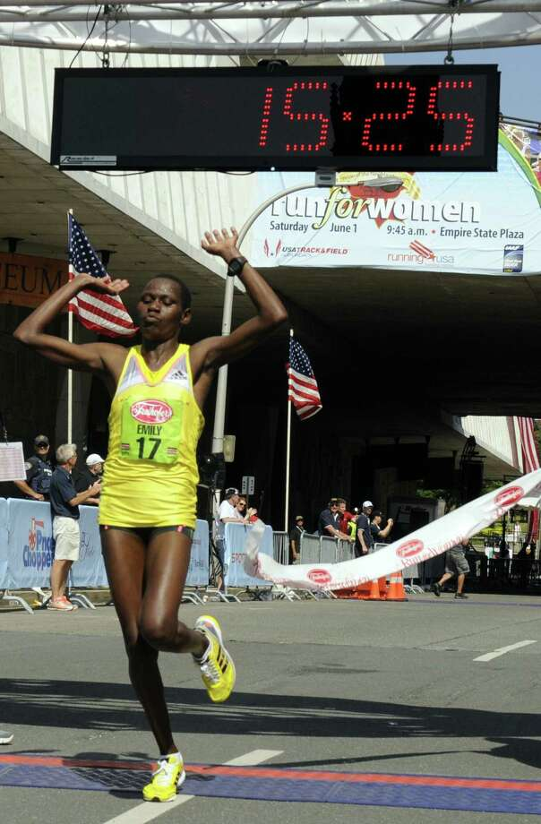 Emily Chebet of Kenya wins the 35th annual Freihofer's Run for Women on Saturday June 1, 2013 in Albany, N.Y.  (Michael P. Farrell/Times Union) Photo: Michael P. Farrell