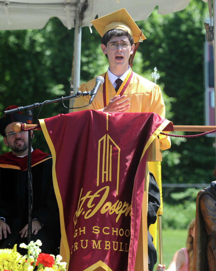 Valedictorian Matthew Immerso speaks during graduation for the St. Joseph High School Class of 2013, in Trumbull, Conn., June 1st, 2013 Photo: Ned Gerard / Connecticut Post