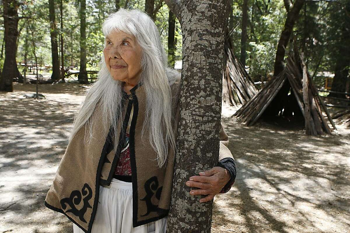 Julia Parker in a replica of an Indian village behind the Yosemite museum in Yosemite Valley, Calif., on Wednesday, May 29, 2013. At the age of 84, Parker is the oldest and longest tenured employee at Yosemite National Park.