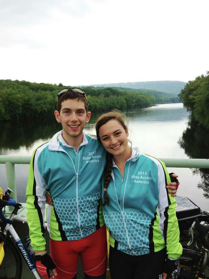 Alec Bernard of Westport and Allie Wills of Austin, Tex., are riding bikes cross country to raise money. Photo: Contributed Photo