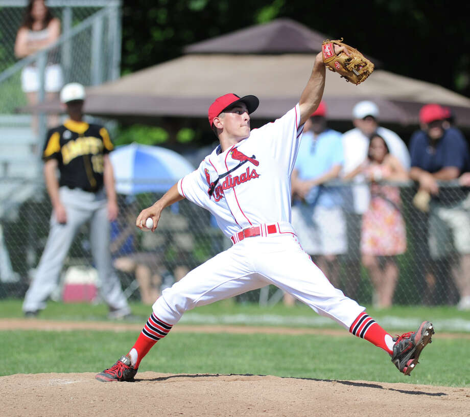Greenwich pitcher J.T. Hintzen throws during the Class LL baseball quarterfinal game between Greenwich High School and Amity High School at Greenwich, June 1, 2013. Amity defeated Greenwich 6-0 as Amity pitcher Michael Concato threw a no hitter. Photo: Bob Luckey / Greenwich Time