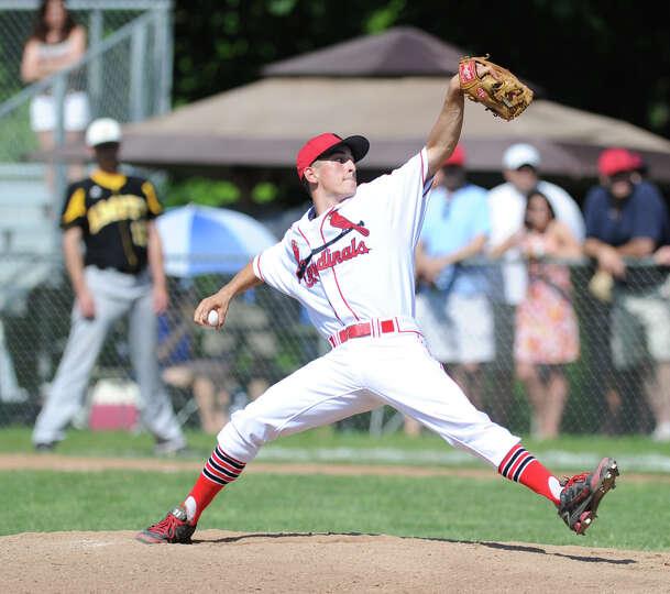 Greenwich pitcher J.T. Hintzen throws during the Class LL baseball quarterfinal game between Greenwi