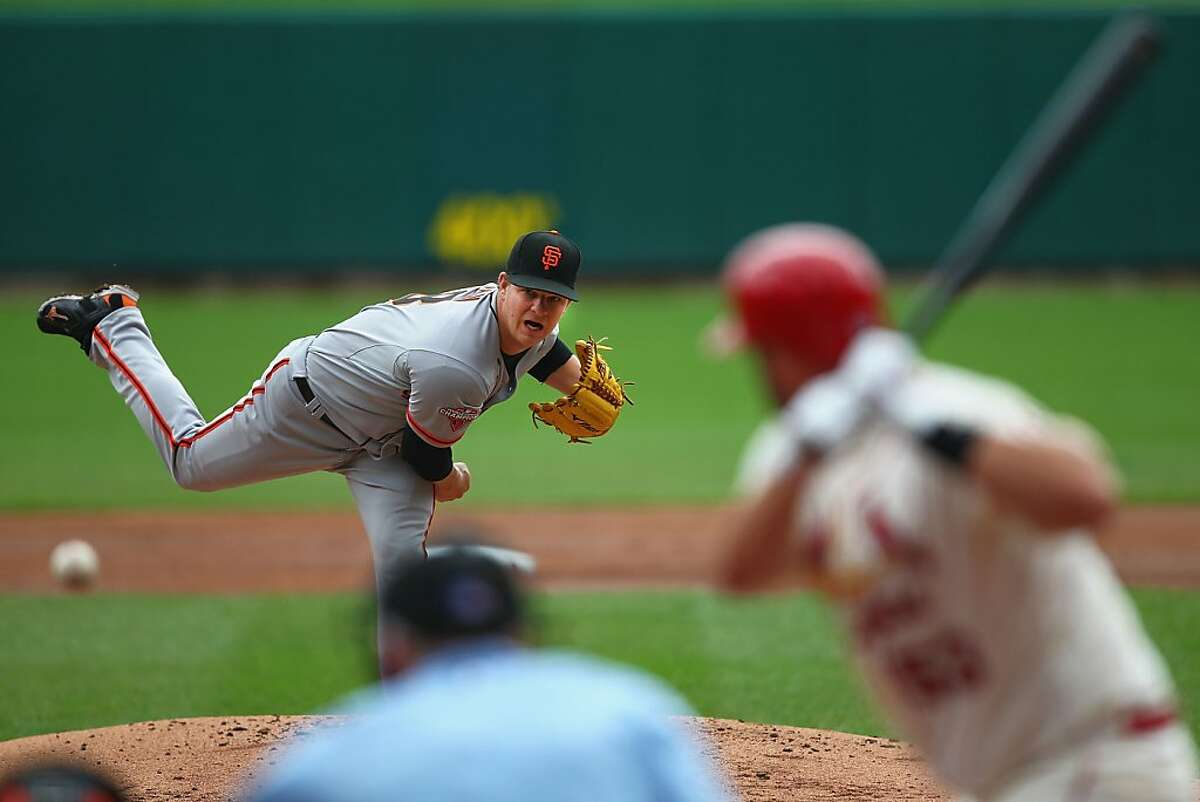 ST. LOUIS, MO - JUNE 1: Starter Matt Cain #18 of the San Francisco Giants pitches against the St. Louis Cardinals during game one of a doubleheader at Busch Stadium on June 1, 2013 in St. Louis, Missouri. (Photo by Dilip Vishwanat/Getty Images)