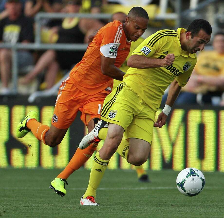 The Crew's Justin Meram, shown on the right in this file photo, paced Columbus' win on Saturday night. Photo: Alex Holt, McClatchy-Tribune News Service / Columbus Dispatch