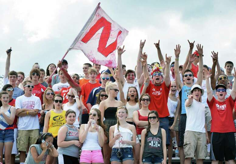 Niskayuna fans cheer their team in the boys' lacrosse state tournament game against Cornwall in Alba