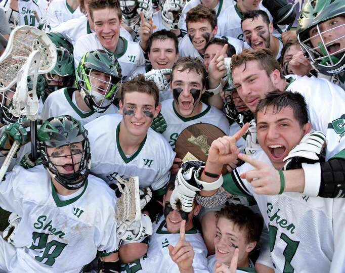 Shen players celebrate their victory over Minnisink Valley in the state tournament boys' lacrosse ga
