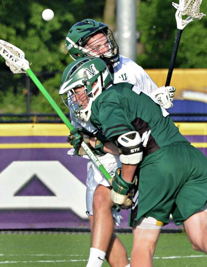 Shen's #13 Nick Arnold, top, and Minnisink Valley's #7 Mike Byrne tangle during their state tournament boys' lacrosse game  in Albany, NY, Saturday June 3, 2013.  (John Carl D'Annibale / Times Union) Photo: John Carl D'Annibale / 00022651A