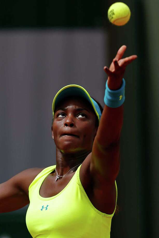 Sloane Stephens of the U.S. serves against New Zealand's Marina Erakovic in their third round match at the French Open tennis tournament, at Roland Garros stadium in Paris, Saturday, June 1, 2013. (AP Photo/Petr David Josek) Photo: Petr David Josek