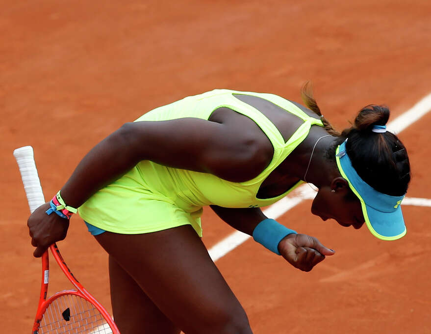 Sloane Stephens, of the U.S, reacts as she defeats New Zealand's Marina Erakovic during their third round match of the French Open tennis tournament at the Roland Garros stadium Saturday, June 1, 2013 in Paris. Stephens won 6-4, 6-7, 6-3. (AP Photo/Petr David Josek) Photo: Petr David Josek
