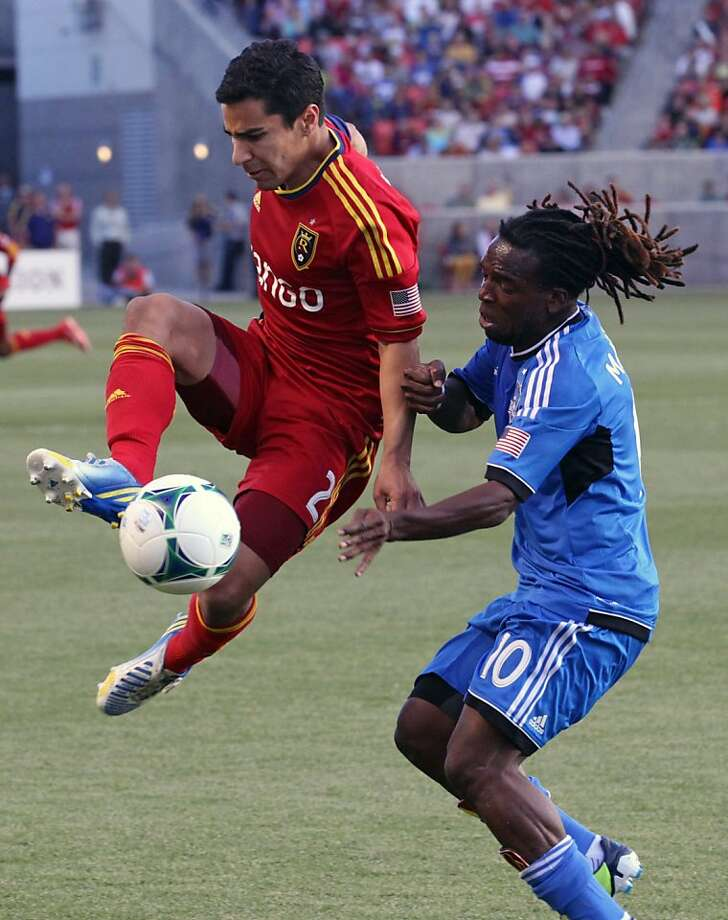 Walter Martinez (right) and the Quakes were left behind by Tony Beltran and Real Salt Lake. Photo: Rick Bowmer, Associated Press