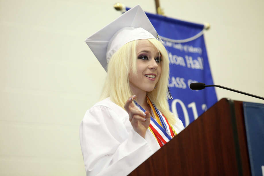 Rebecca Sherrick gives the salutatory remarks during Lauralton Hall's commencement exercises on Sunday, June 2, 2013 in Milford, Conn. Photo: BK Angeletti, B.K. Angeletti / Connecticut Post freelance B.K. Angeletti
