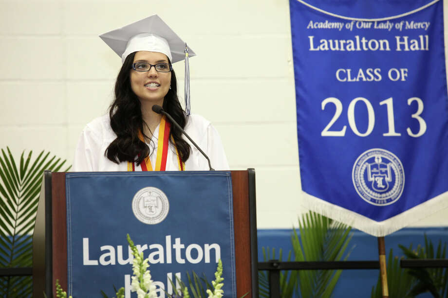 Gabrielle Shkreli gives the salutatory remarks during Lauralton Hall's commencement exercises on Sunday, June 2, 2013 in Milford, Conn. Photo: BK Angeletti, B.K. Angeletti / Connecticut Post freelance B.K. Angeletti