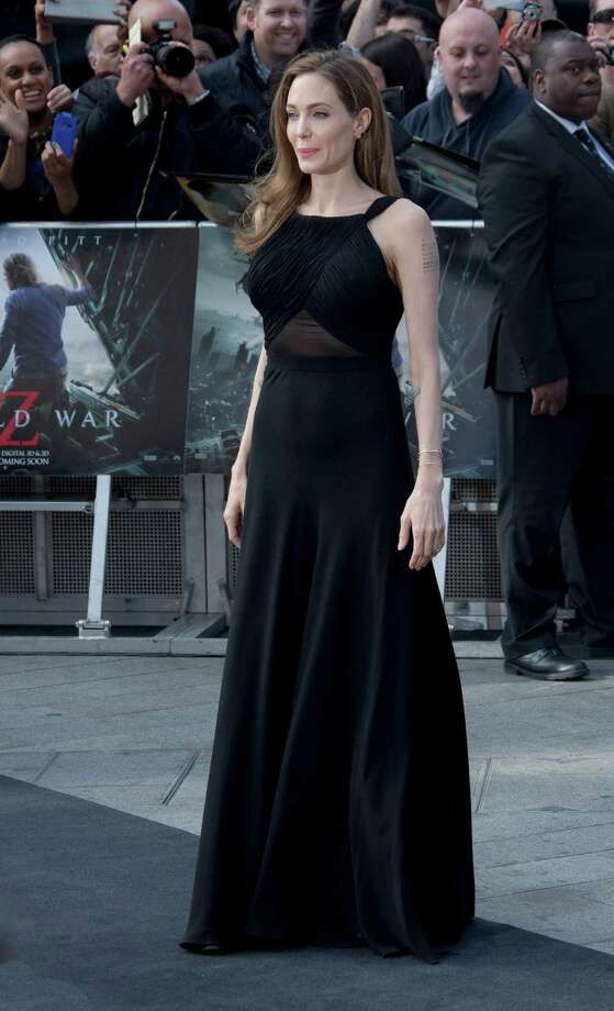 Angelina Jolie arrives for the World Premiere of World War Z  at a central London cinema, Sunday, June 2, 2013. Photo: AP