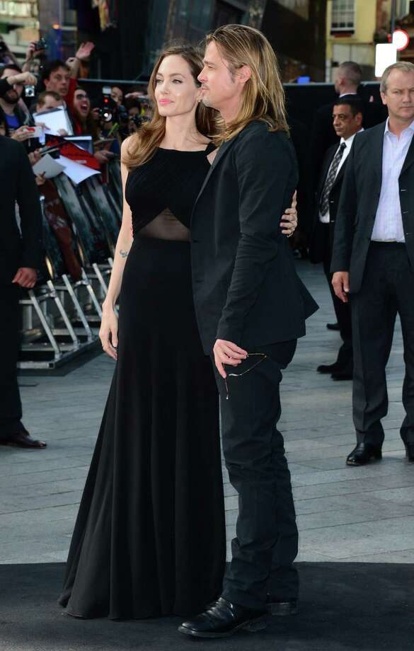 Angelina Jolie and Brad Pitt arrive at the World Premiere of 'World War Z' at the Empire Cinema in London, Sunday June 2nd, 2013. Photo: AP