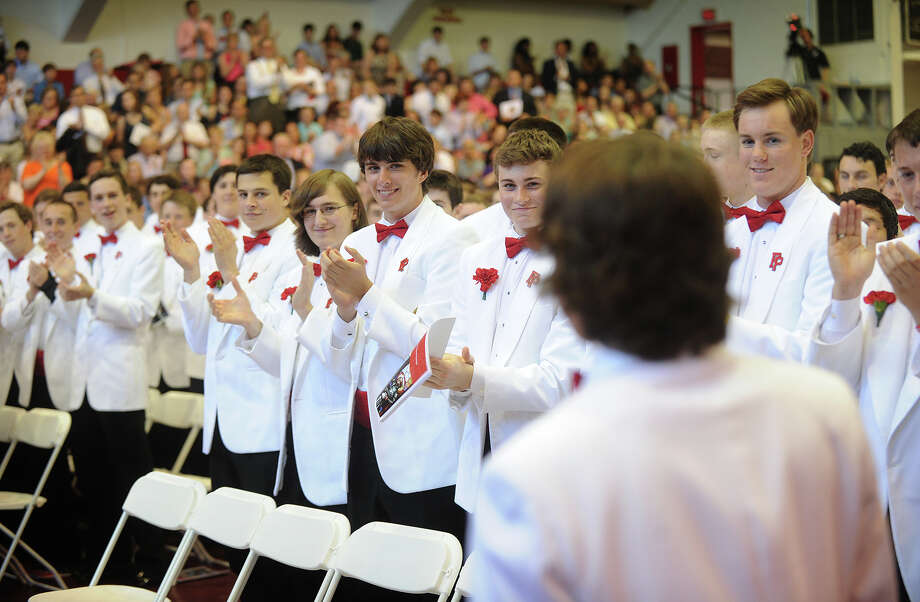 His classmates applaud the address of senior speaker David Bruton during Commencement Exercises at Fairfield Prep in Fairfield, Conn. on Sunday, June 2, 2013. Photo: Brian A. Pounds / Connecticut Post