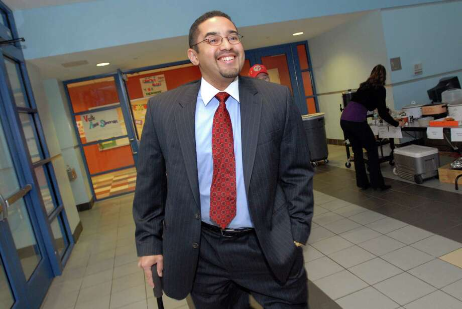 Mayoral candidate Nathan Lebron leaves the polling place after voting on Election Day on Tuesday, Nov. 3, 2009, at Myers Middle School in Albany, N.Y. (Cindy Schultz / Times Union) Photo: CINDY SCHULTZ / 00006220A