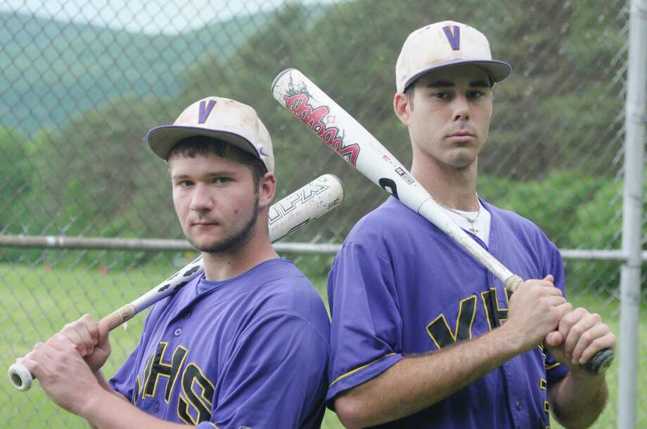 Voorheesville High School baseball players Mike Young, left, and Nico Church pose for a photograph before practice on Sunday, June 2, 2013 in Voorheesville, NY.   (Paul Buckowski / Times Union) Photo: Paul Buckowski