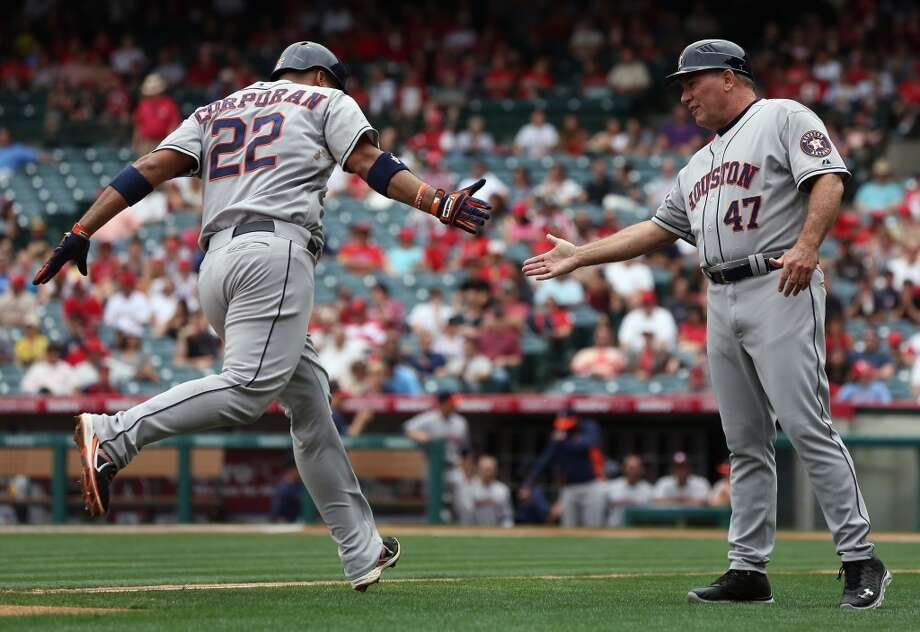 June 2: Astros 5, Angels 4 Carlos Corporan got the Astros going early with a solo homer in the first inning. The club held on for a narrow road win.  Record: 20-37. Photo: Jeff Gross, Getty Images