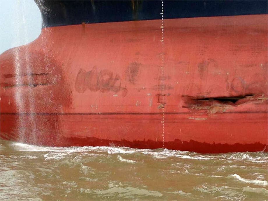 The unloaded 800-foot tanker, Minerva Maya, sustained some damage after a collision with a tug pushing barges in the Houston Ship Channel June 2, 2013. No injury or pollution was reported from the incident. Photo: U.S. Coast Guard