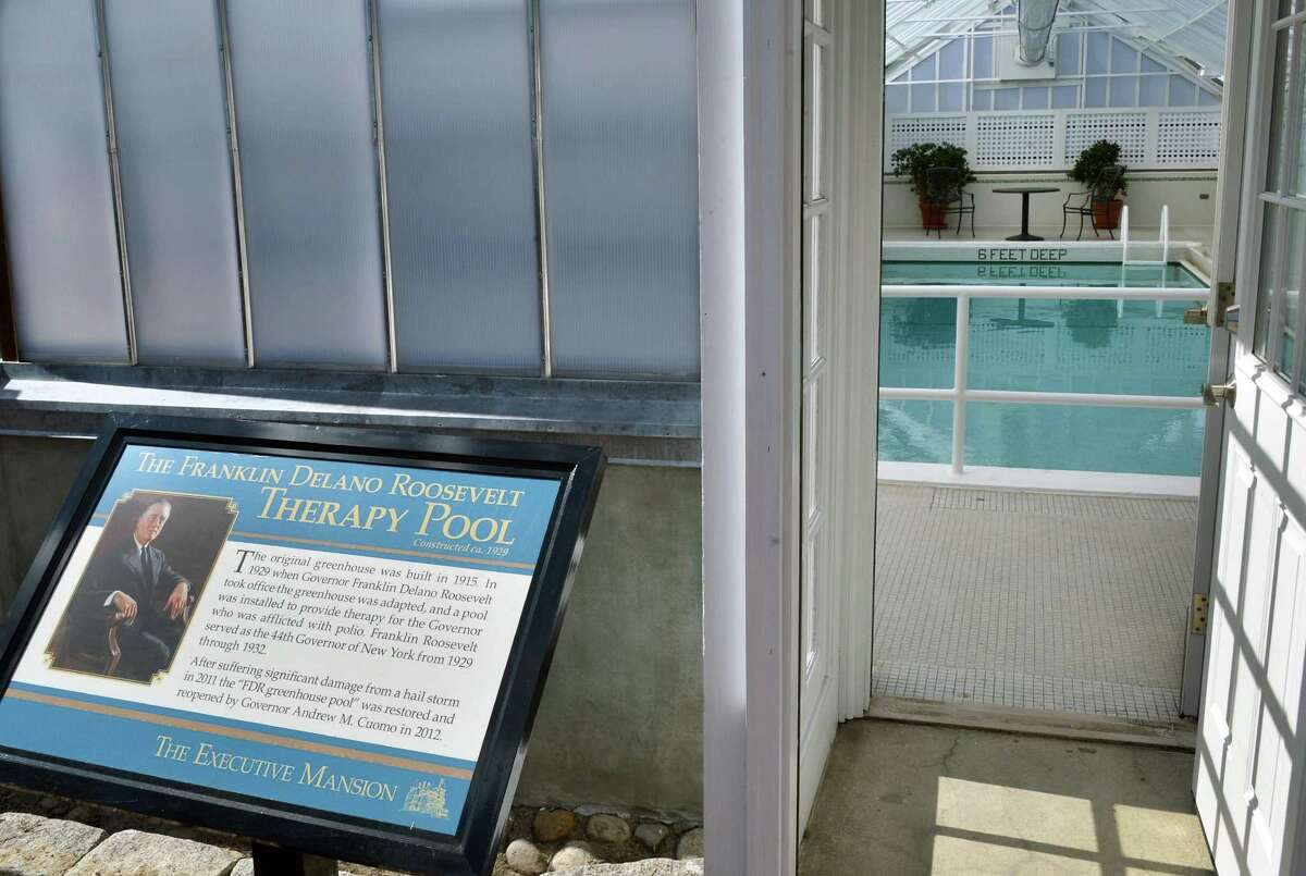 Entrance to the governor's poolhouse, first dug as a therapy pool for FDR and recently repaired and renovated by OGS at the Governor's Mansion in Albany Wednesday March 27, 2013. (John Carl D'Annibale / Times Union)