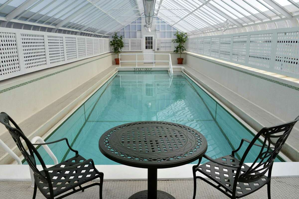 Inside the governor's poolhouse, first dug as a therapy pool for FDR and recently repaired and renovated by OGS at the Governor's Mansion in Albany Wednesday March 27, 2013. (John Carl D'Annibale / Times Union)