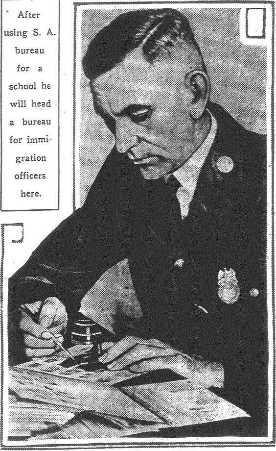 There are things to be learned from S.A.'s Police Department. For instance, here is Paul Ezrell, immigration patrol inspector, learning fingerprinting in the department's identification bureau. After using the S.A. bureau for a school he will head a bureau for immigration officers here. Published in the San Antonio Light June 7, 1928. Photo: File Photo