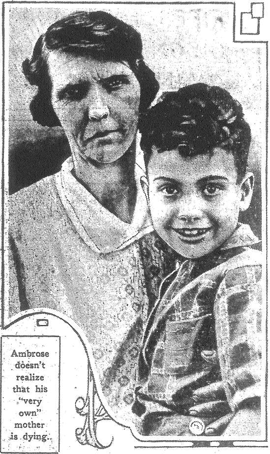 """Little Ambrose Stephens, 7, adopted son of Mr. and Mrs. O.R. Stephens, visited in Beaumont his own mother, now near death, and cheered the last moments of the woman who gave him up to a better home. """"Thank you for bringing him back; now I can die happy,"""" she said. Here, Mrs. Stephens holds him. """"If we had lots of money we would adopt a dozen children,"""" Mr. Stephens declared. """"These people who lavish all they have on dogs — they don't know what they're missing. There's no investment better than a boy. We're proud of our tall son — we have one of our own — and we're just as proud of the other three, because we've had the fun of bringing them up."""" Published in the San Antonio Light June 7, 1928. Photo: File Photo"""