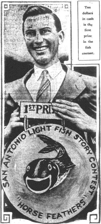 E.J. Knapp, awarded first prize of $10 in the Light's fish story contest, proudly pins on his medal. Knapp's winning yarn was selected by a committee from 800 other fish story letters submitted during the month long contest. Published in the San Antonio Light June 3, 1928. Photo: File Photo