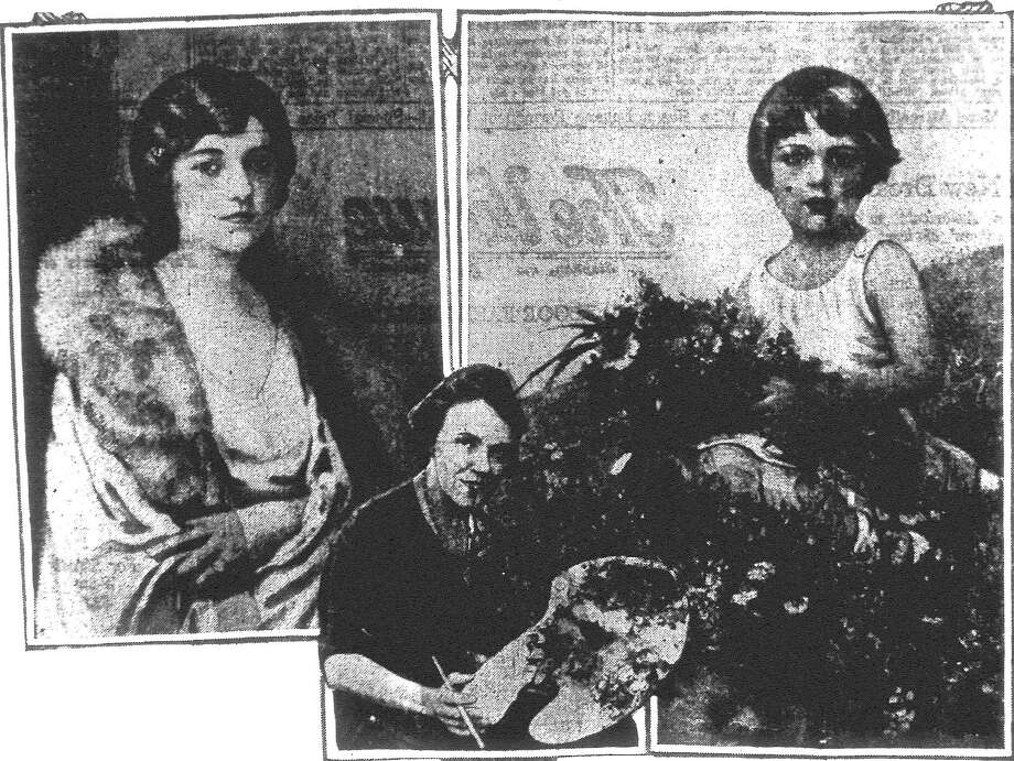 Mrs. F.I. Elgin, wife of Captain Elgin of Kelly Field, is rapidly winning national renown for her portraits in oil. In the upper left hand corner is Mrs. George Dewey Sanders of San Antonio. In the upper right hand corner is Mrs. Elgin's own little girl in a striking pose with wild flowers which has drawn a great deal of attention. At the bottom Mrs. Elgin is shown. Published in the San Antonio Light June 3, 1928. Photo: File Photo