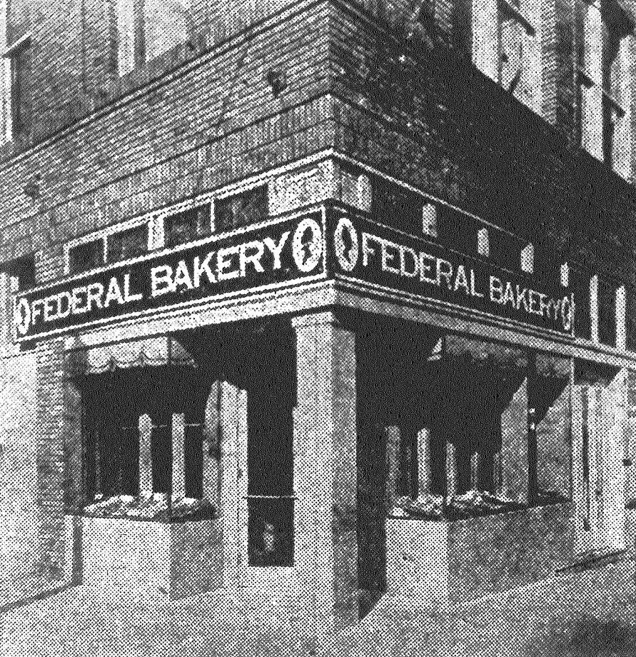 Here is the new Federal Bakery Store at the corner of Commerce and Alamo streets. Special showcases are constructed to enable patrons to inspect bakery products without touching them. A special carrier system conveys hot bread from oven rooms to the salesroom and showcases. New machinery has been installed with the latest sanitary devices. The showroom is decorated with the well-known Lady Baltimore frieze which is a trademark of Federal Bakeries. Mrs. G. Kohler is manager of the store. Published in the San Antonio News June 1, 1928. Photo: File Photo